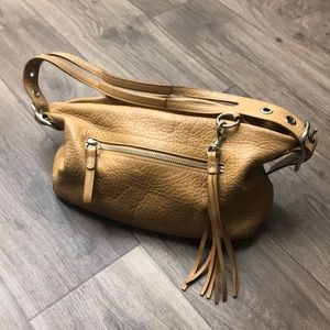 Coach signature pebbled tan leather shoulder bag